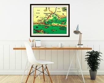 DESTIN Florida Map Art, Fathers Day Fishing Gift, retro Ft Walton Beach Destin Fathers Day Fishing Husband Gift, aqua fish art retro Florida