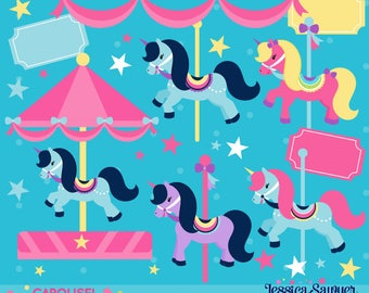 INSTANT DOWNLOAD - Carousel Clipart or Carnival Clip art