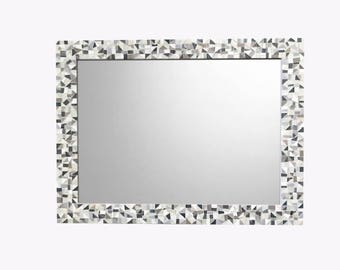 Large Mosaic Wall Mirror in Silver, Gray, White