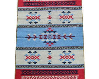 Reversible Kilim Rug - Small Turkish Kilim Rug or Mat in Blue, Red and Cream - 127cm x 77cm