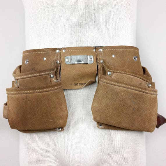 tool belt vintage brown leather work apron