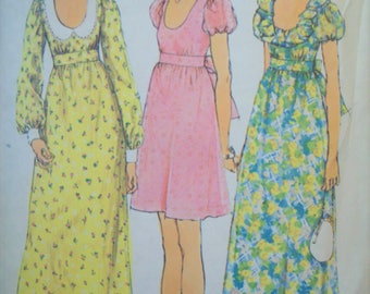 Mini Dress Maxi Dress with Midriff and Low Round Neckline Ruffle Neckline 1970s Simplicity Pattern 5568 Cut Size 10