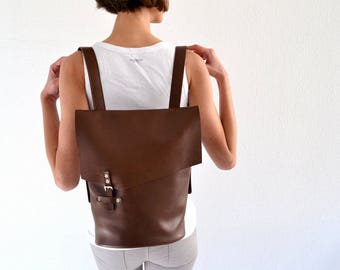 Chocolate brown leather backpack