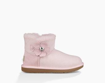 Kids Ugg Boots Toddler Baby Poppy flower Short Mini Bow Children Crib w/ Swarovski Crystal Rhinestone Jewel Heel tag Glass Slippers