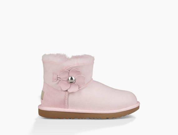 Custom Toddler Baby girl Poppy UGG Boots flower Short Mini Bow Children Crib w/ Swarovski Crystal Rhinestone Jewel Heel tag Glass Slippers