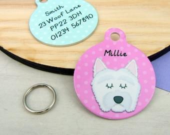 Dog Tag - West highland Terrier Dog ID Tag - Westie Collar charm - Scottie Name ID Tag - Personalised Dog ID Tag