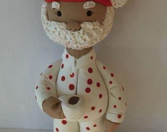Polymer clay Mr. Santa,Christmas, sculpted Santa, handmade with polymer clay, Whimsical African American Santa.