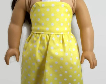 Yellow and White Polka Dot Halter-Style Sundress - Made to Fit Like American Girl Doll Clothes