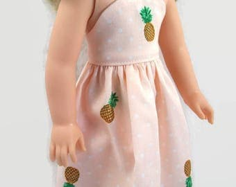 Peach Dress with Pineapple Pattern - Made to Fit 14.5 Inch Dolls Like WW Doll Clothes
