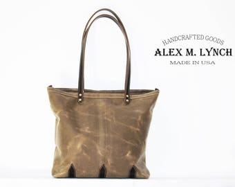 Waxed Canvas tote - heavy weight water resistant Twill and genuine leather accents - 010063