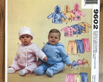 UNCUT Baby Jacket, Pants, Hat Sewing Pattern McCall's 9602 Winter, Fall, Holiday Dress, Newborn Clothes, Layette