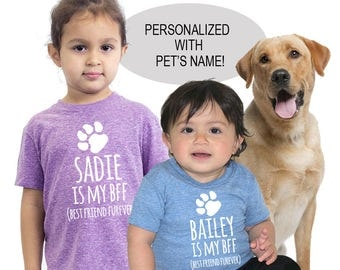 BFF 'Best Friend Furever' Personalized Pet Tri Blend Baby, Toddler and Youth T-Shirts - Custom Pet Tee for Infants, Toddlers and Kids