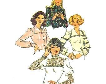 "Simplicity 6679 Woman Long Sleeve Retro Blouse Vintage Sewing Pattern Size 10 Bust 32.5"" 1970s Vintage Pattern Woman Blouse Button-Up Blouse"
