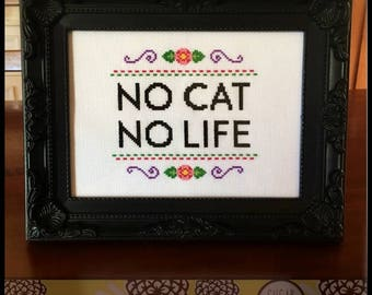 No Cat No Life Cross Stitch (Printable PDF Pattern) - Immediate Download from Etsy - Cat / Kitten / Kitty LOVE!