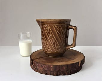 Brown Stoneware Pitcher, Vintage Buttermilk Jug, Made in USA, 1930s American Stoneware, Farmhouse Water Pitcher, Monmouth Western Stoneware