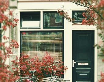 Bicycle Photography, Street Art Print, Travel Decor, Bicycle Art, Amsterdam Photography, Teal and Coral Decor, Pastel Bicycle Wall Art