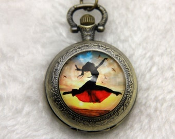 Necklace Pocket watch dance with birds