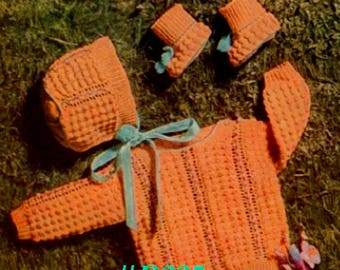 Vintage 1953 Baby's Pullover Sweater, Cap & Booties Set #B225 PDF Digital Crochet Pattern