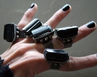 Large Black Tourmaline Crystal Statement Ring
