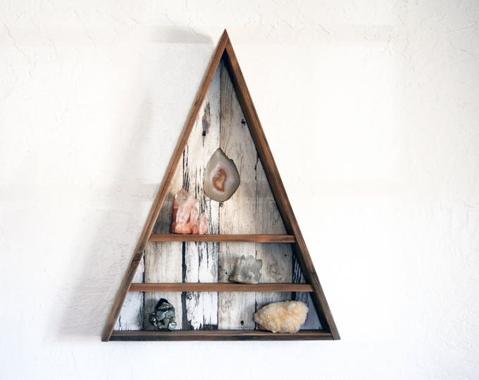 Triangle Curiosity Cabinet with Agate Slice Inlay