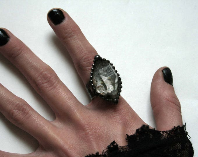 Medium Double Terminated Tibetan Quartz Crystal Ring