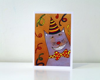 Funny cat happy birthday card Funny birthday card - cute cat card - cat greeting card animal - cat lover humor birthday card from cat