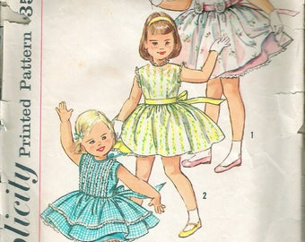 """Vintage 1956 Simplicity 1898 Child's Dress & Slip Sewing Pattern Size 2 Breast 21"""""""