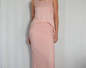 SALE Side Slit Lace Skirt in Dusty Rose