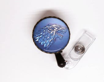GOT Id Badge Holder- House of Stark Id Badge Reel , ID Badge Reel- Retractable Badge Holder, Stethoscope Name Tag, Game of Thrones