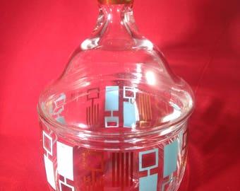 """VINTAGE VANITY DISH-Mid-Century Design-Gold Ball Handle on Lid-6"""" Tall-Groovy!"""