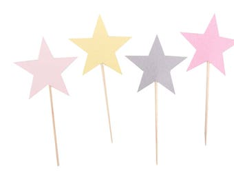 Pink Star Cupcake Toppers - Girl Twinkle Twinkle Little Star Cupcake Toppers - Star Baby Shower - Pink Yellow Star Cupcakes