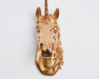 Unicorn Head wall mount in Gold The Bayer, Magical Unicorn Wall Mount Head by White Faux Taxidermy, Unicorn Art Decoration, Kids Room Decor