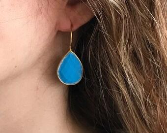 Bohemian Turquoise Dangle Earring- Tear Drop Earring- Blue Gemstone Earring- Pear Shape Turquoise Earring- December Birthstone Earring