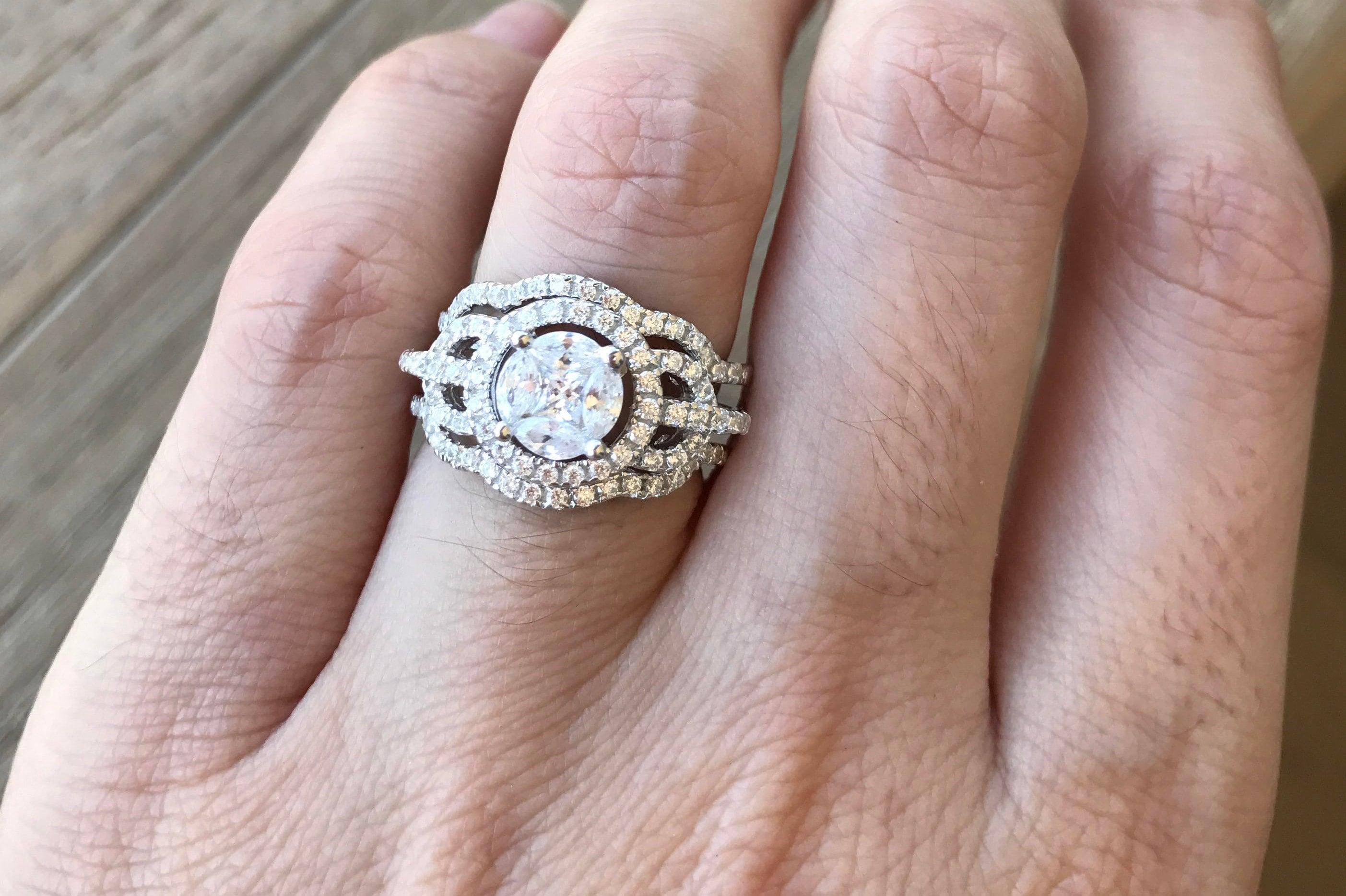 Art Deco Wedding Set Unique Engagement Ring Set Halo Round