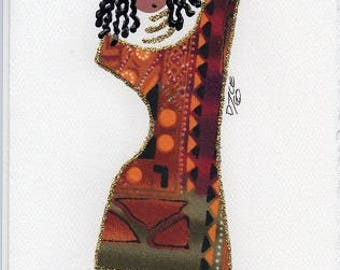 """Customizable, Ethnic, African American Fabric  Cards, Any occasion, blank """"DIVA"""" cards - by PaintedThreads"""