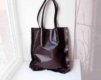 Leather tote bag, Dark burgundy and black tote bag