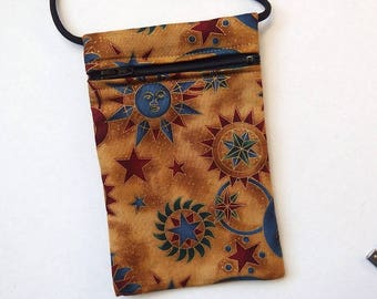Pouch Zip Bag MOON STARS SUN Fabric.  Great for walkers, markets, travel.  Cell Phone Pouch. Small Fabric Purse. Golden celestial fabric.