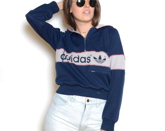 Vintage 70's ADIDAS Trefoil Cropped Pullover Hoodie Sz S