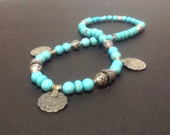 Chunky turquoise necklace - Chunky beaded necklace - Turquoise bead necklace - Turquoise chunky necklace