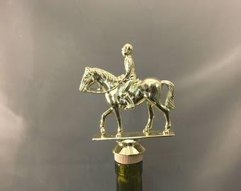 Equestrian Wine Stopper, Horseback Riding Gift, Horse Bottle Topper, Horseback Wine Gift, Equestrian Gift, Horse Owner, Wine Drinker, WIne