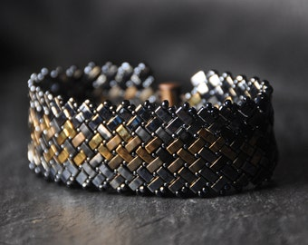 Camouflage,, Herringbone Half Tila beads Bracelet,  Handmade, Beaded Cuff, Miyuki crystal beads, made to order