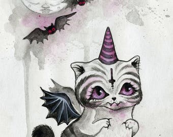 TThe Vampurrr Bat - cute spooky, original illustration, watercolors, vampire bat, cat art, small artwork, black cat art, bat cat, animal art