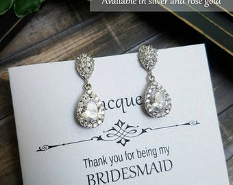 Bridesmaid Earrings, Bridal Earrings, Wedding Earrings, Crystal Teardrop Earrings, Bridesmaid Jewelry, Bridal Jewelry, Bridesmaid Gift