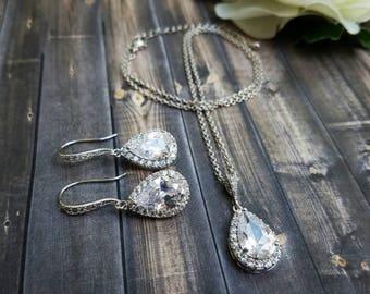 Bridal Jewelry Set, Bridal Earrings, Bridesmaid Earrings, Wedding Jewelry Set, Bridal Jewelry, Bridesmaid Jewelry, Teardrop Jewelry Set