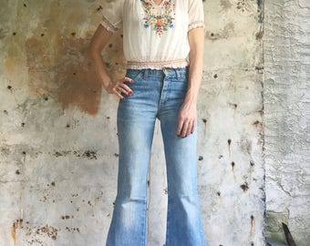 The Californian 1970s Lee Bell Bottom Flare Embroidered Jeans 25 26 XS