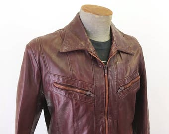 1980s Men's Oxblood Leather Jacket Vintage Oxblood Leather Motorcycle Jacket / Coat Excellent Sports Wear by Far Eastern - Size MEDIUM