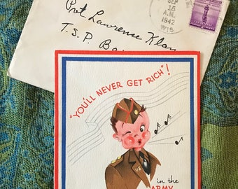 1942-You'll Never Get Rich in the Army Greeting card-Whistling Soldier