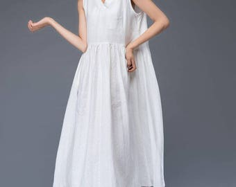 White maxi dress,  linen dress, maxi dress, white linen dress, dress, womens dresses, loose dress, white dress, long dress  C946