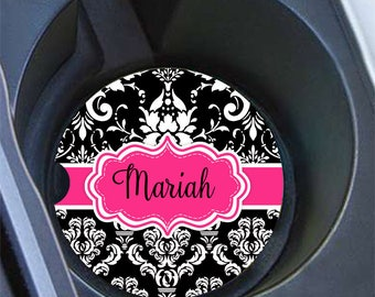 Pink and black car decoration, Damask auto coasters for your cup holder, Girly accessories, Personalized gifts for women (1668)