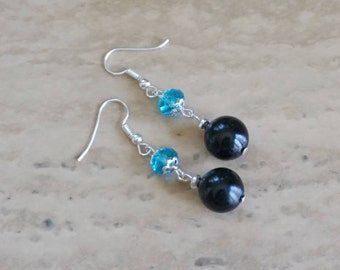 Black/Blue Gemstone Earrings, Women's Earrings, Black Earrings, Blue Earrings